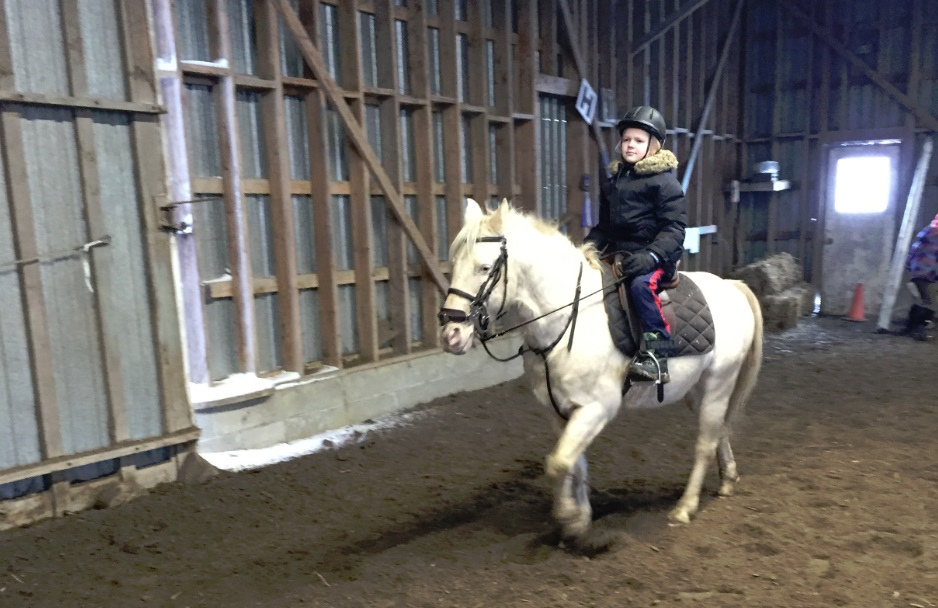 Boy gets riding lessons indoors at riding academy
