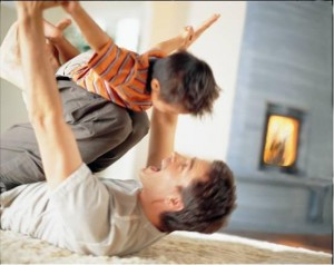dad playing with son for Heads Up Dad